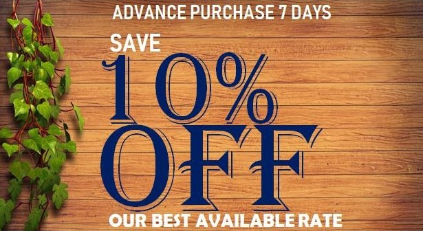 Save 10% off our Best Available Rate. Simply book 7 days in advance.